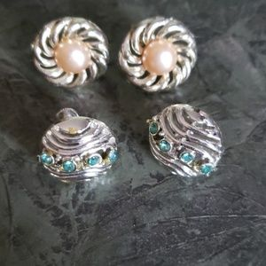 Vintage Clip on Earrings pair 1gold pair 1silver